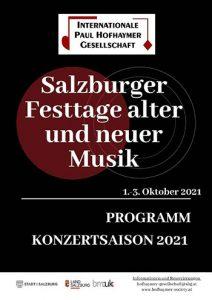 Programmheft der Salzburger Musikfesttage 2021 - PAus Hofhaymer Gesellschaft